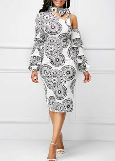 Layered Sleeve Printed Tie Neck Dress