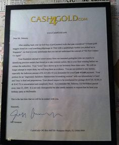 Cash for Gold letter this is the funniest thing ever! Please read