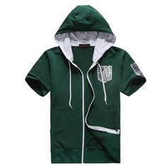 Attack on Titan Survey Corps Eren Cosplay Costumes Front-Zip Short Sleeve Hoodie (WHITE US S=Asia M)