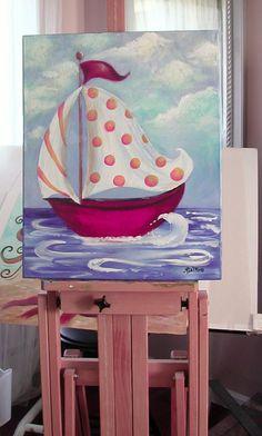 Personalized lunatique original peinture à la pépinière nautique voilier rouge jaune bleu 16 x 20