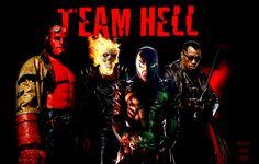 Versions Of Ghost Rider   Team Hell: Hell Boy, Ghost Rider, Spawn, Blade by DeviantArtist2006