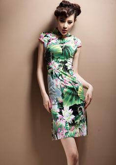 Lotus Print Cheongsam / Qipao / Chinese Dress