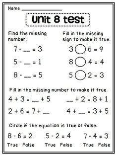 first grade math worksheets | Fill in the missing numbers | Work ...