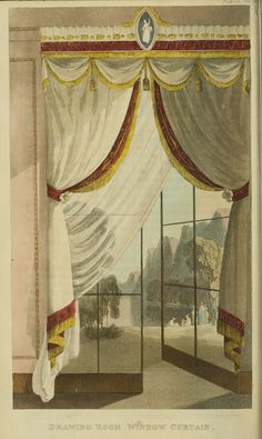 1818 - Drawing Room Window Curtain from Ackermann's Repository