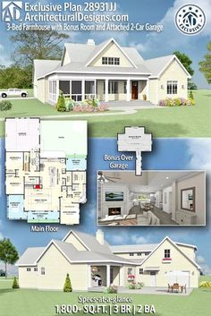 Architectural Designs House Plan gives you 3 bedrooms, 2 baths in sq. Where do YOU want to build? Plan Farmhouse with Bonus Room and Attached New House Plans, Country House Plans, Dream House Plans, Dream Houses, Log Houses, The Plan, How To Plan, Architectural Design House Plans, Architecture Design