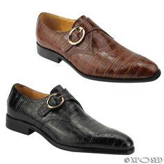 Mens Real Leather Black & Brown Monk Strap Croc Skin Effect Smart Slip on Shoes