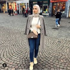 neutral hijab-How to wear colorful hijab in winter – Just Trendy Girls