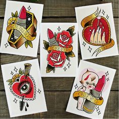 Tattoo prints by Yukitten'me! Yukittenme print flash kewpie heart makeup