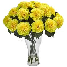 Nearly Natural Blooming Carnation Arrangement with Vase Faux Floral / Plant…