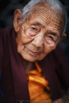 """""""Kindness"""" by Zolashine -- Zolashine - Portrait of an elderly Tibetan nun. We Are The World, People Around The World, Little Buddha, Old Faces, Interesting Faces, World Cultures, Portraits, Belle Photo, Beautiful People"""