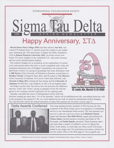 The Sigma Tau Delta Newsletter 75th Anniversary Issue - Spring 1999