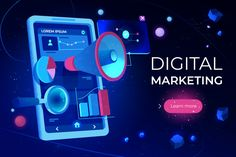 Buy Digital Marketing Landing Page Smartphone Screen by vectorpouch on GraphicRiver. Digital marketing landing page, smartphone screen with megaphone or loudspeaker, data analysis charts and magnifying . Digital Marketing Strategy, Online Digital Marketing, Best Digital Marketing Company, Marketing Strategies, Banner Marketing, E-mail Marketing, Marketing Training, Social Media Marketing, Marketing Budget