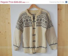 SALE Vintage 80's Norwegian Sweater  Wool Sweater womens mens nordic Cardigan