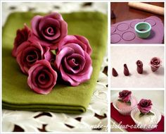 making roses with marshmallow fondant