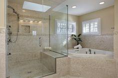Huge walk-in shower and jacuzzi tub luxury bathroom design.  See 127 more luxury bathroom designs at