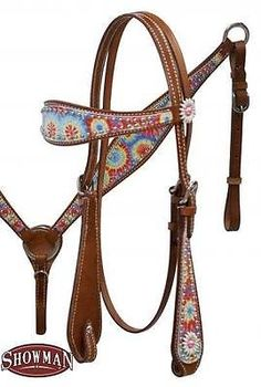 Showman Medium Oil TIE DYE PRINT headstall and breast collar set! New Horse Tack