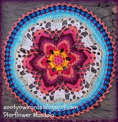 Starflower Mandala, *free* pattern by Zelna Olivier of Zooty Owl. Very helpful row-by-row photo tutorial (written pattern here: http://zootyowlcards.blogspot.com/2014/04/starflower-mandala-pattern.html ) . . . . ღTrish W ~ http://www.pinterest.com/trishw/ . . . . #crochet #doily