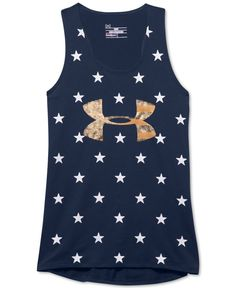Bold stars add standout style to this Under Armour tank for your girl, which is built for performance with sweat-wicking, stretch construction. | Cotton/polyester/elastane | Machine washable | Importe