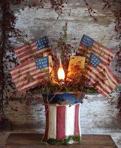Americana Crafts, Patriotic Crafts, July Crafts, Primitive Crafts, Rustic Americana Decor, Primitive Candles, Country Crafts, Primitive Country, Summer Crafts
