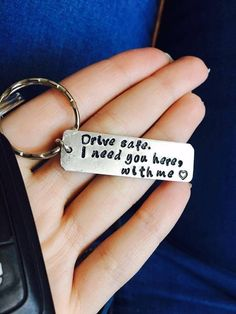 Homemade Cards Discover Personalized Drive Safe I Need You Here with Me Keychain Engraved Couples Keyring Customizable New Driver Gift Husband Boyfriend Gift Personalized Keychain Drive Safe Boyfriend Gift Aluminum Cadeau Couple, Bf Gifts, Husband Gifts, Birthday Gift For Husband, Birthday Present Boyfriend, Bday Gifts For Him, Surprise Gifts For Him, Valentines Day Gifts For Him Diy, Little Gifts For Him