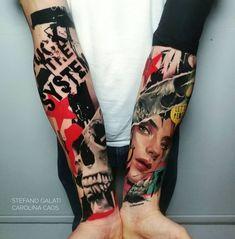 Tattoo Trash, Trash Polka Tattoo, Word Tattoos, Body Art Tattoos, Tatoos, Slipknot Tattoo, Fire Tattoo, Book Tattoo, Body Mods