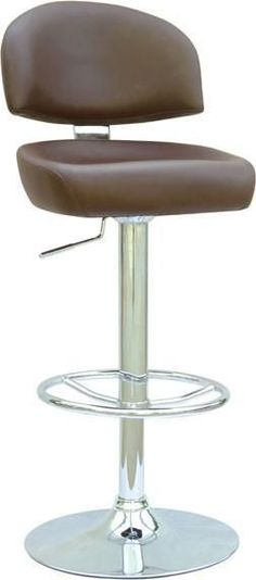 """Chintaly 0362-AS-BRW Pneumatic Gas Lift Adjustable Height Swivel Stool - 24.5"""" - 33"""""""