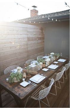 use my old dinning table as your outdoor dinning table and pair it with some chairs from bluesuntree (with outdoor cushions from ikea)