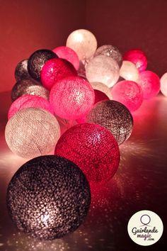 guirlande lumineuse boules de coton et leds bricolage pinterest led d co et d coration. Black Bedroom Furniture Sets. Home Design Ideas
