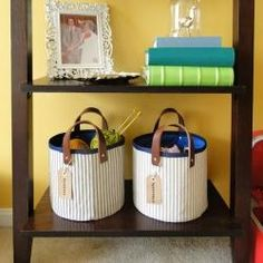 Fabric + Leather Storage Basket