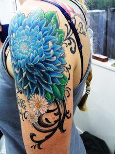 Blue Chrysanthemum Tattoo