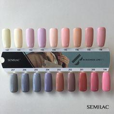 """Polubienia: 588, komentarze: 13 – Semilac (@semilac) na Instagramie: """"Nowa kolekcja Business Line #1 w całej okazałości Które kolory z najnowszej paletki skradły Wasze…"""" Solid Color Nails, Nail Colors, Winter Nails, Spring Nails, Acrylic Nail Designs, Acrylic Nails, Nail Dipping Powder Colors, Lines On Nails, Nail Ring"""