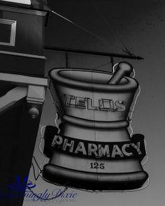 Tellis Pharmacy Sign Charleston SC   signed by CharminglyDixie, $30.00
