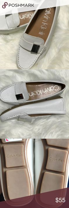 Calvin Klein Lisa style flat shoes Platinum white New-no tags/ never worn(big for my size) Calvin Klein Shoes Flats & Loafers
