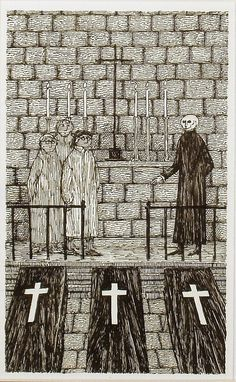 frontispiece to The Chessmen of Doom by John Bellairs, illustrated by Edward Gorey