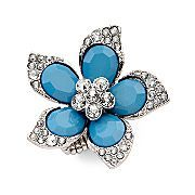 5-Petal Turquoise Flower Crystal Ring    $12