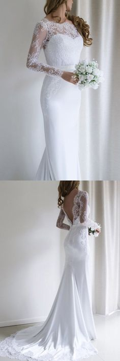 Elegant lace long sleeves mermaid white long wedding dress with train . - bride, wedding dresses, bridal shoes, bridal hair, bridal makeup - Elegant Lace Long Sleeves Mermaid White Long Wedding Dress With Train … dress -