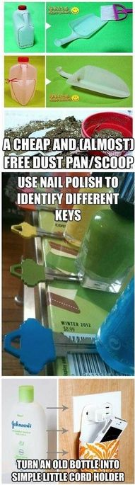 3 Household Hints: Create a scoop for FREE {beach shovel, dust pan, gardening/potting, litter scoop ~ add holes, etc.} ~*~ Nail polish to distinguish various keys with similar shape ~*~ Camera/iPod/phone charger case DIY