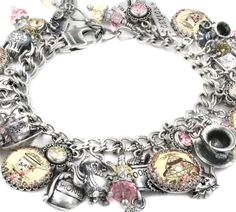 The English Tea Charm Bracelet Silver Charm Bracelet, Charm Necklaces, Charm Jewelry, Silver Charms, Charm Bracelets, Personalized Charms, Memorial Jewelry, Custom Jewelry Design, I Love Jewelry