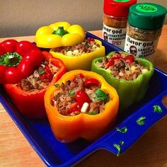 Stuffed Bell Peppers! #FlavorGod Garlic Lovers And Spicy Recipe: Stuffed bell peppers Ground turkey Onion & garlic Brown rice Diced grape tomatoes Corn Cilantro And of course @flavorgod spicy & garlic lovers Directions: Stuff peppers and bake for 25-30 minutes at 375! #FlavorGod Seasoning 50% OFF with 20 Recipe Ebook!