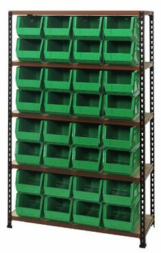 """Boltless Particle Board Shelving Heavy Duty 12 x 36 x 63 with 32 QUS239 BLUE Bins by Quantum. $825.78. . Convienent 4 side access ( no """"x"""" braces). Easy boltless assembly. 750lb load capacity per shelf. Heavy Duty4 Shelves Convienent 4 side access ( no """"x"""" braces) Easy boltless assembly 750lb load capacity per shelf Heavy Duty"""