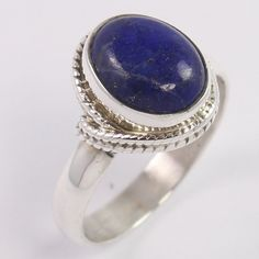 Handcrafted 925 Sterling Silver Ring Size US 6.5 Natural LAPIS LAZULI Gemstone #Unbranded