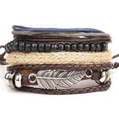 New Fashion Retro Metal Feather Wood Beads Braclets For Male Boy Cool Wristband Bijoux Punk Multi Layer DIY Braided Leather Cord Layered Bracelets, Braided Bracelets, Bracelets For Men, Fashion Bracelets, Fashion Jewelry, Leather Bracelets, Charm Bracelets, Male Jewelry, Wrap Bracelets