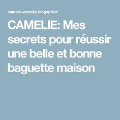 CAMELIE: Mes secrets pour réussir une belle et bonne baguette maison