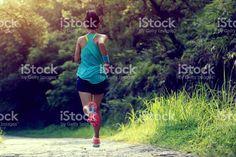 Coureurs de sport jogging sur le sentier de la forêt. photo libre de droits