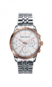 Colección Timeless luxury - HM0004-07. Reloj multifunción brazalete IP Silver esfera blanca y bisel IP Rosa. Cierre desplegable. Cristal mineral. Impermeable 30m (3ATM). Precio: 69,00 €