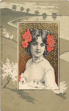 insert b/w image of lady with red/green flowers in hair facing left, looking front, buff rural background