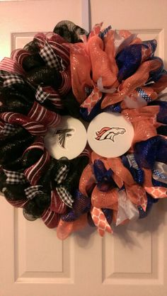 House Divided- Falcons/Broncos Football Themed Wreath $60.00