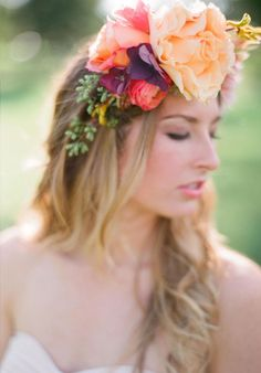 I dare you not to look at this inspiration and instantly want to infuse every inch of your life in beautiful florals; wildly glamorous, uber bright, bohemian floral crown kinds of florals. Floral Crown Wedding, Cute Wedding Dress, Bohemian Wedding Dresses, Fall Wedding Dresses, Colored Wedding Dresses, Wedding Day, Floral Crowns, Bridal Crown, Spring Wedding