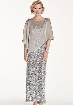 Sleeveless Sequin Lace Dress with Caplet