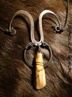 Necklaces :: Water Buffalo Tooth Arch - Post-Apocalyptic Gear - Handmade bone jewelry and leather goods.